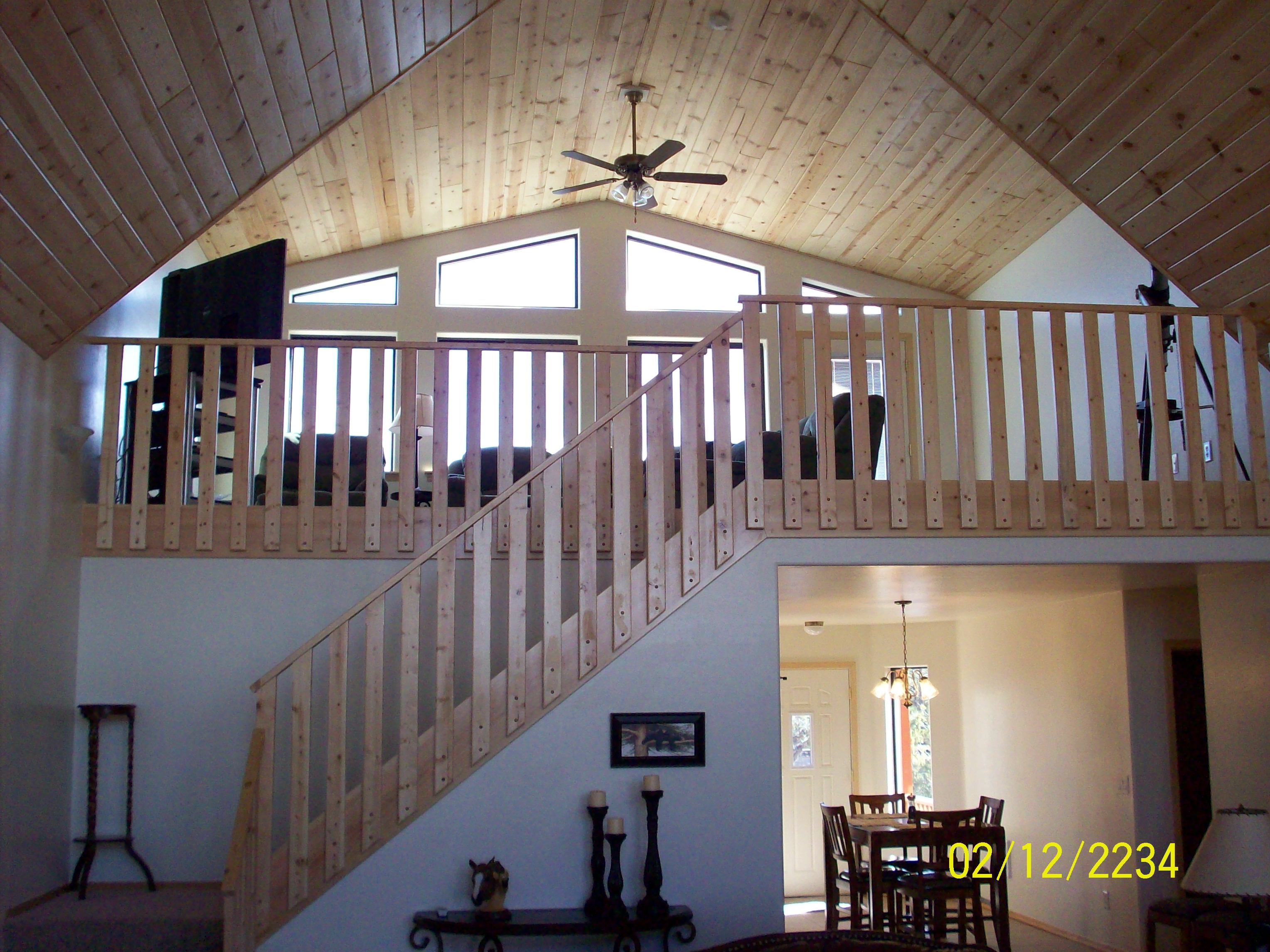 custom interior, dining room, pine staircase