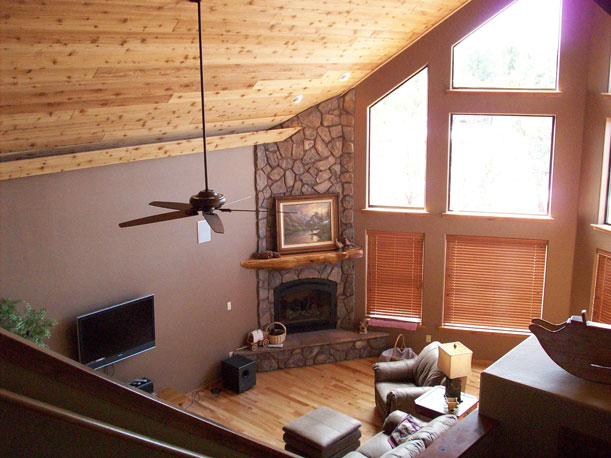 Mountain View, knotty pine, loft, balcony, floor plans, dimensions
